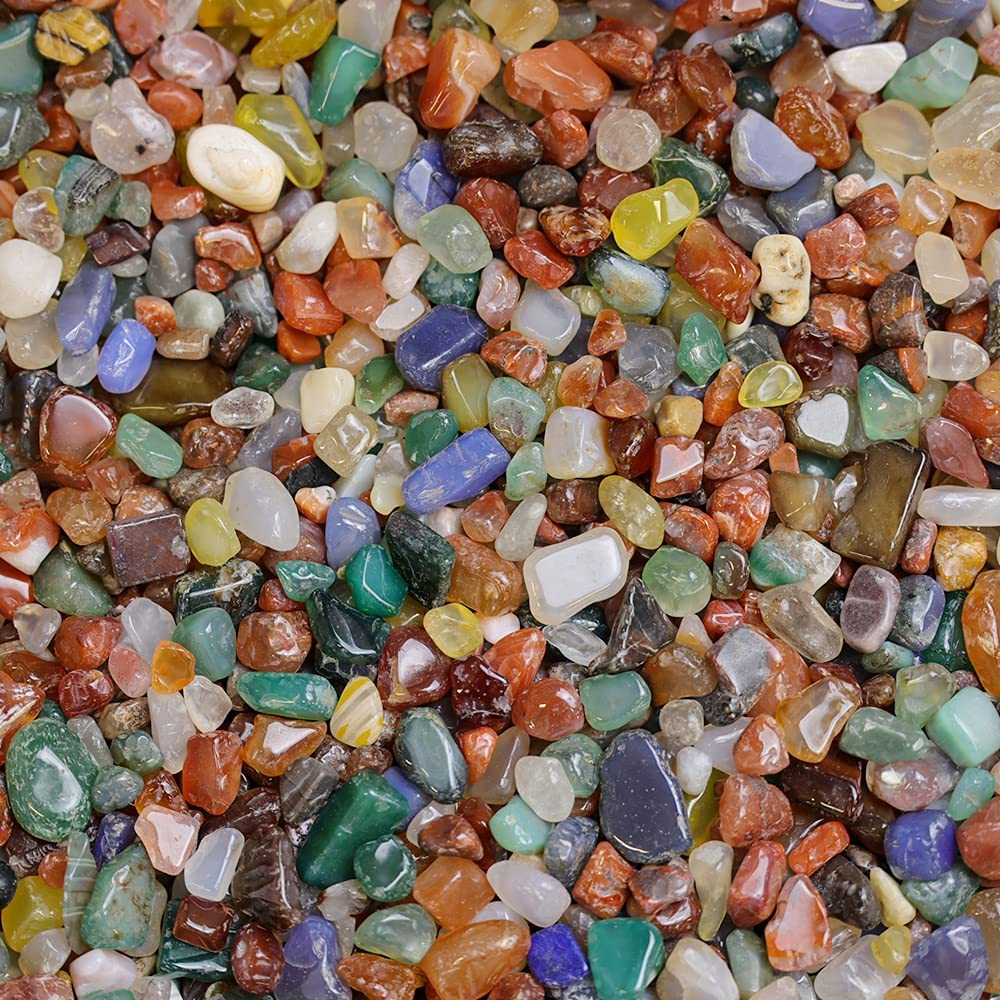 NINGYE 1.1lbs Mixed Agate Stone Decora 70% OFF Import Outlet Tumbled Stones for Plants