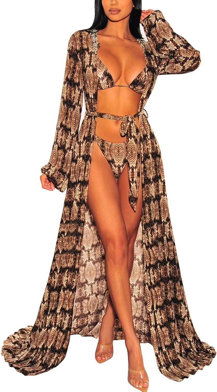Kisscynest Women's Long Sleeve Mesh Swimsuit Cover Ups Bathing Suit Beach Maxi Wrap Dress