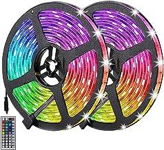 Auelek Ledstrip, 10 m, 300 leds, 5050 RGB, IP65, waterdicht, flexibel, meerkleurig, op maat gesneden, neonkleuren, met afs...