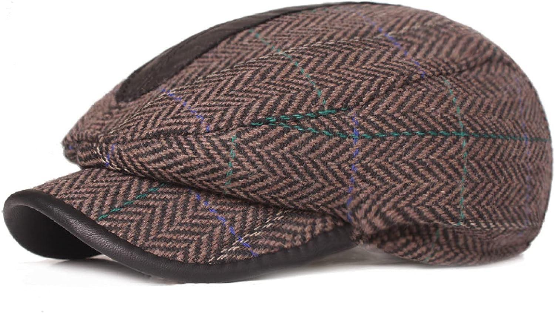 Fashion Men Checks Plaid Cotton Newsboy Cap Driving Sun Flat Men's Hat Cabbie Beret Hat Autumn and Winter Warmth