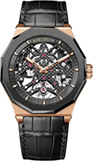 Men's Watch Top Brand Black Fashion Skeleton Mechanical Automatic Watch Rubber Strap Waterproof Watches for Men