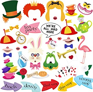 Alice In Wonderland Photo Booth Props, BizoeRade 40pcs Alice In Wonderland Party Supplies and Decorations, Perfect for Tea Time, Kids Birthday, Girls Party