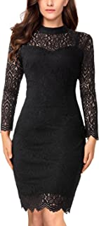 Long Sleeve Lace Bodycon Scalloped Knee Length Cocktail...