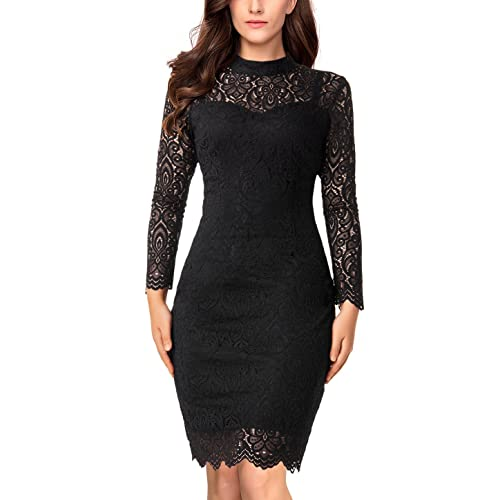 d02c02683 Long Sleeve Lace Bodycon Scalloped Knee Length Cocktail Party Dress for  Women