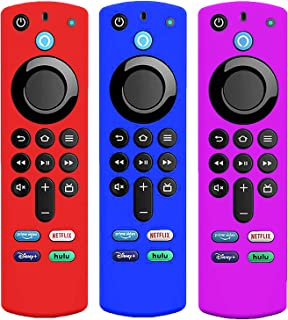 3 Pack Silicone Case for Alexa Voice Remote 3rd Gen 2021, KTMEWAS Protective Cover for FireStick TV 4k 2021 Remote Control...