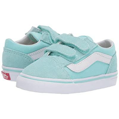 Vans Kids Old Skool V (Toddler) (Blue Tint/True White) Girls Shoes