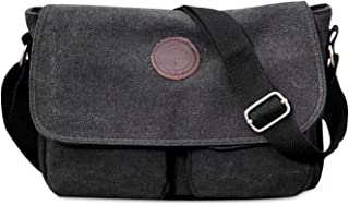 FANDARE Unisex Umhängetasche Leinwand Schultertasche 7.9 inch iPad Tasche Vintage Canvas Messenger Tasche für Damen/Herren Schwarz