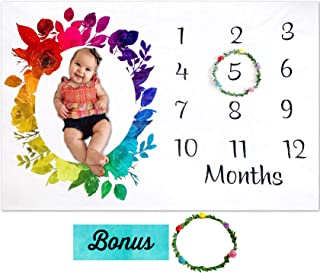 Rainbow Baby Monthly Milestone Blanket by Storky | Girl or Boy Photography Background Prop | Bonus Floral Flower Wreath | Newborn to 12 Months | Baby Shower Gift | Baby Registry Watch Me Grow