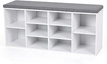 VASAGLE Schuhbank Fiberboard Holz mit Sitzauflage gepolstert mit 10 Fächern weiß LHS10WT