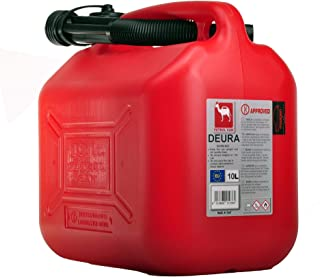 Deura Plastic Fuel Jerry Can, 10 Liter Capacity, Red Color