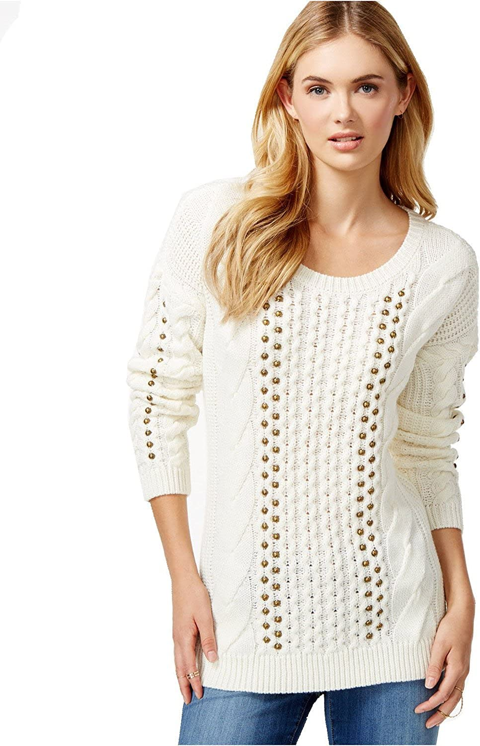 Bar III Women's Embellished CableKnit Sweater