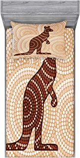 Ambesonne Tropical Animals Fitted Sheet & Pillow Sham Set, Aboriginal Kangaroo Motif Cream Toned Circling Dot Design, Decorative and Printed 2 Piece Bedding Set, Twin, Redwood Brown