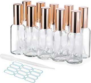 10 Pack 50ml Mini Glass Spray Bottles, Aromatherapy Amber Small Glass Cleaning Water Bottles with Refillable Evo Hair Oil Sprayer Mister, Essential Oil Bottles Empty