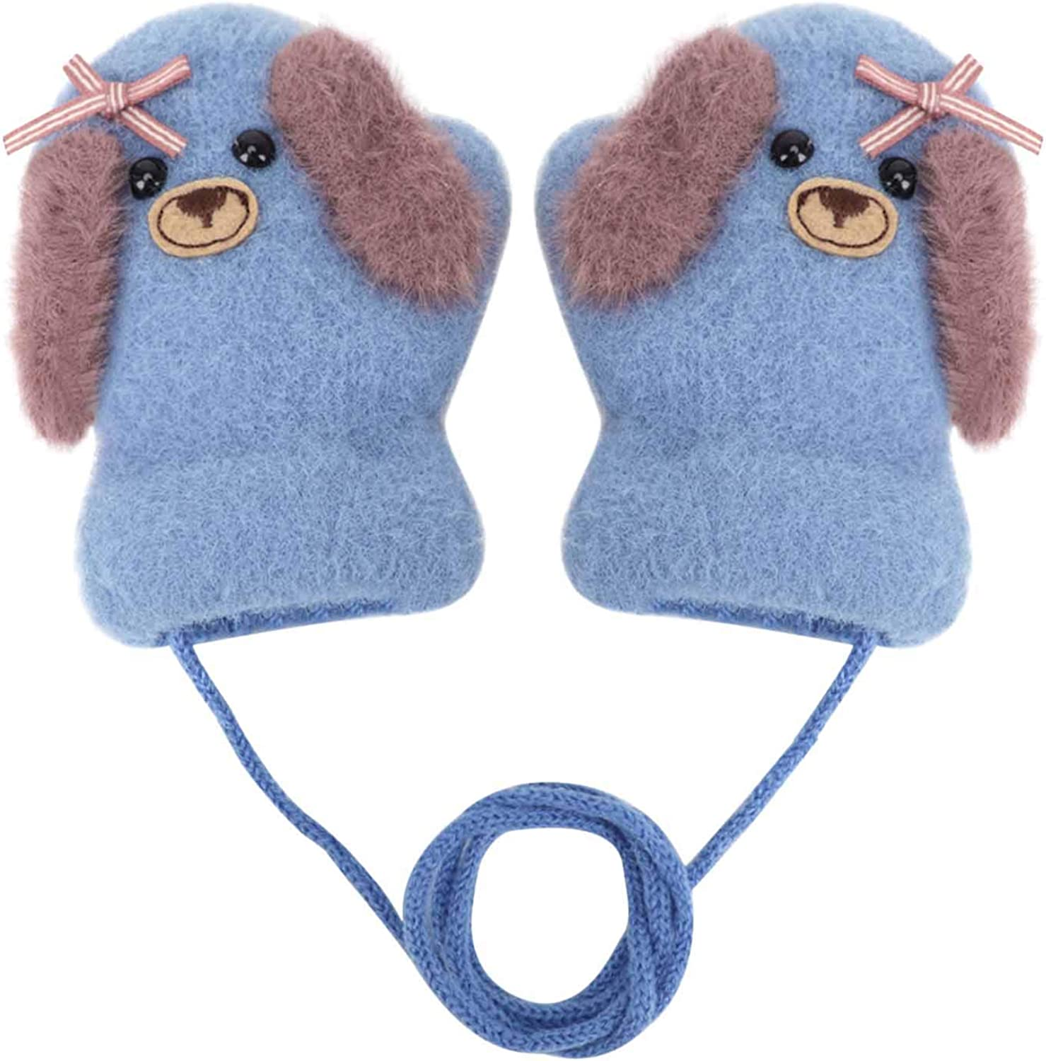 Toddlers Full Finger Gloves Winter Warm Furry Knitted Mitten with Neck String