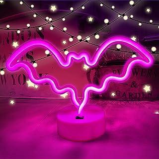 AGUDOU Halloween Fledermaus Nachtlicht Mit Basis, Halloween Sign Dekor, Rosa Led-Neon-Schild Schalter Kontrolle, Gothic De...