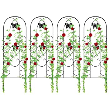 """Amagabeli 4 Pack Garden Trellis for Climbing Plants 60"""" x 18"""" Rustproof Sturdy Black Iron Trellis for Potted Plant Support Butterfly Metal Trellis for Climbing Roses Vine Flower Cucumber Clematis GT02"""