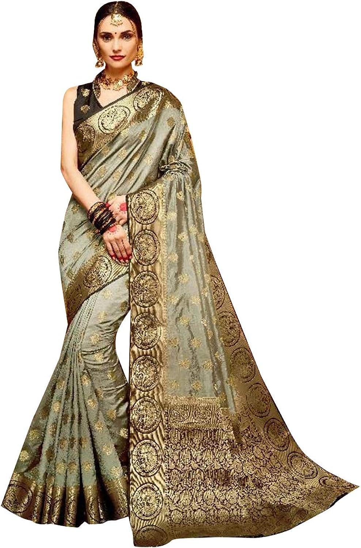 Bollywood Ready to wear Festive Designer Kamalkari Silk Sari with Stitched Blouse for Women Indian Ethnic Saree 7633