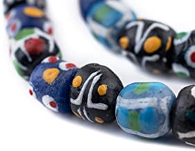 TheBeadChest Painted African Krobo Beads - Full Strand of Ghanaian Tribal Glass Beads for Necklace or Jewelry Making (Turquoise Venetian-Style)