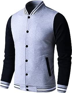 Mens Lightweight Varsity Jacket Button Down Baseball College Letterman Jacket