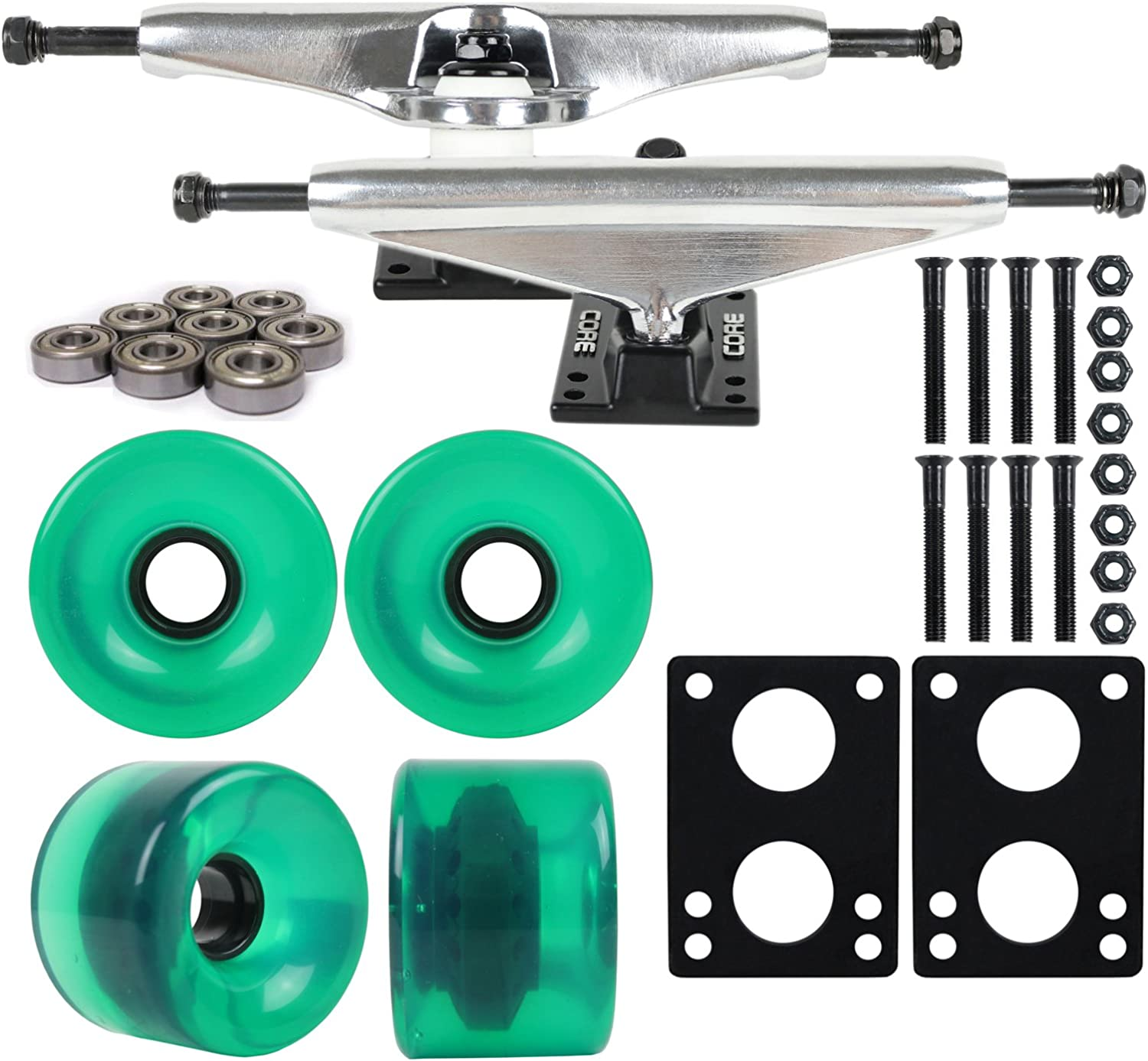 LONGBOARD Package CORE 7 in SILVER TRUCKS 70mm Grn WHEELS