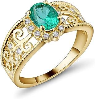 Daesar Anello Oro Giallo Matrimonio 18K, Anelli Per Coppia Viti Vuote Forma Ovale Smeraldo 0.85ct Anello in Oro Giallo