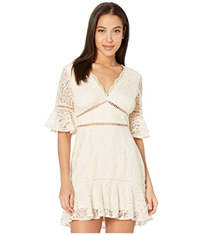 American Rose Melaine Lace Ruffle Mini Dress (Cream) Women