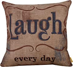 LINKWELL 18x18 Vintage Love Beyond Words Laugh Every Day Burlap Cushion Covers Pillow Case