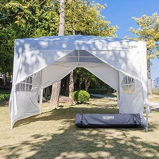 VINGLI 10X10 Feet Pop Up Canopy,Instant Tent,4 Removable Sidewalls,Folding EZ Up Canopy Tent,Patio Event Gazebo Beach Tent,UV Coated&Waterproof, Bonus Wheeled Carry Bag