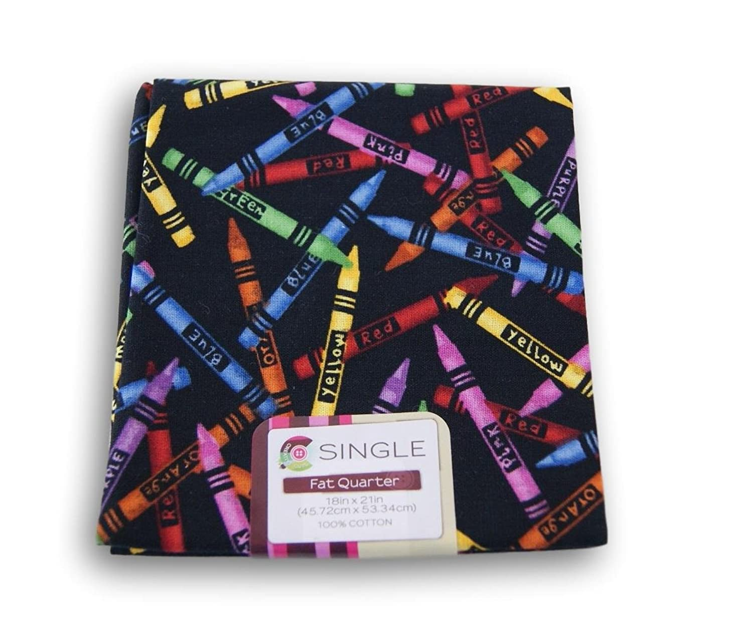 Creative Cuts Fat Quarters - Crayons on Black Background