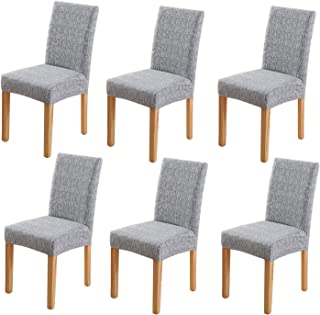 YISUN Modern Stretch Dining Chair Covers Removable Washable Dining Chair Protector Cover Seat Slipcover for Hotel,Dining Room,Ceremony,Banquet Wedding Party (6, Grey)