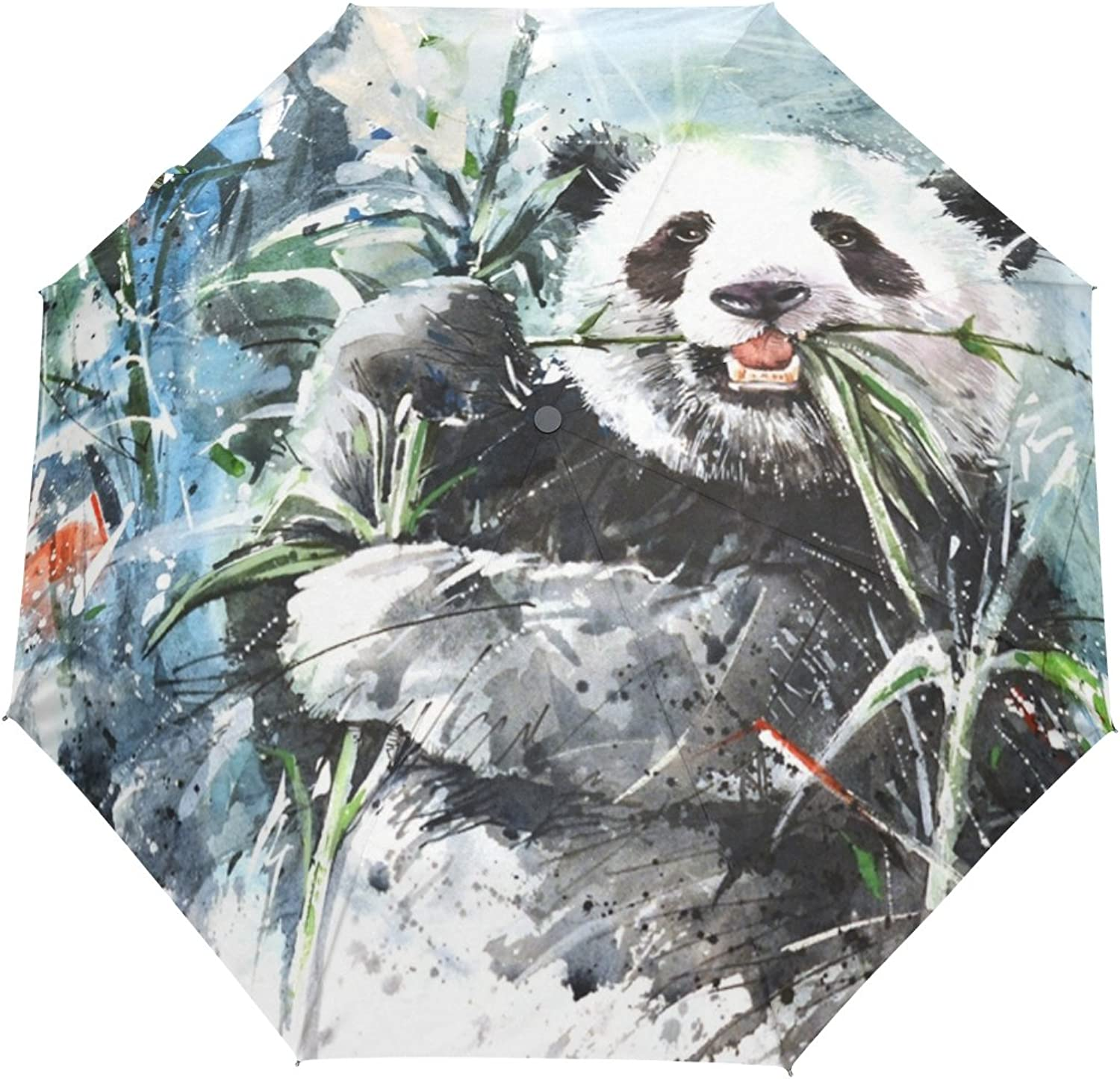 MASSIKOA Panda Bamboo Painting Umbrella Double Sided Canopy AutoOpen Close Foldable Travel Rain Umbrellas