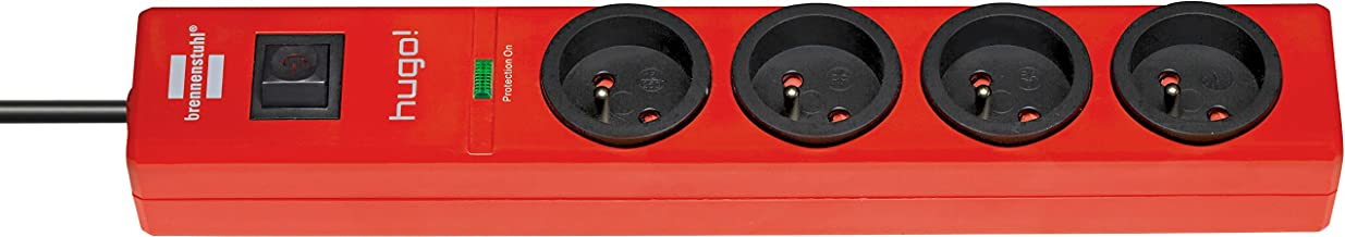 Brennenstuhl Stekkerdoos met overspanningsbeveiliging, 4 stopcontacten, rood, 1150611674