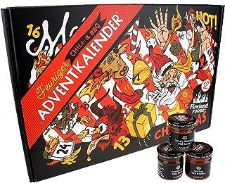 Chili- und BBQ-Adventskalender mit 24 Produkten   von mild bis höllisch   Geschenk für Advent und Weihnachten   Geschenk für Männer   Version mit Türchen   880g 24x37g