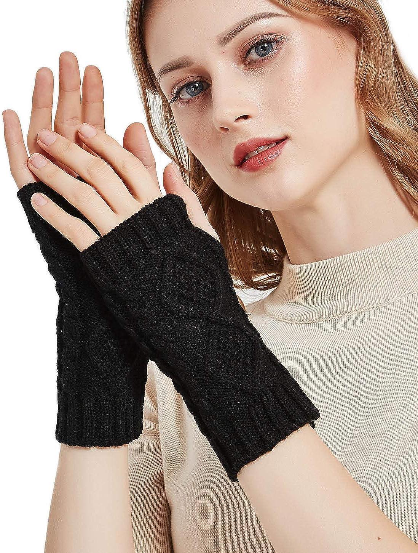 NOVAWO Womens Winter Arm Warmers Warm Fingerless Gloves Hand Crochet