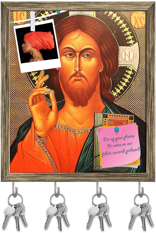Artzfolio Jesus Christ D3 Key Holder Hooks   Notice Pin Board   Antique golden Frame 16 X 18.9Inch