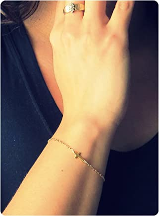 Fremttly Dainty Tiny Freshwater Pearl and Lace Chain Bracelet 14K Gold Fill Handmade Brecelet for Women