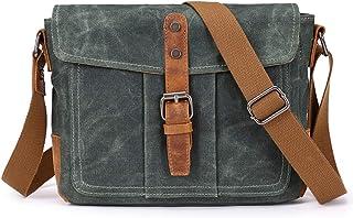 Mens Vintage Casual Fashion Canvas Messenger Bags Briefcase Crossbody Single Shoulder Bag ipad Satchel Bag,Green,26.5 * 8 * 20cm