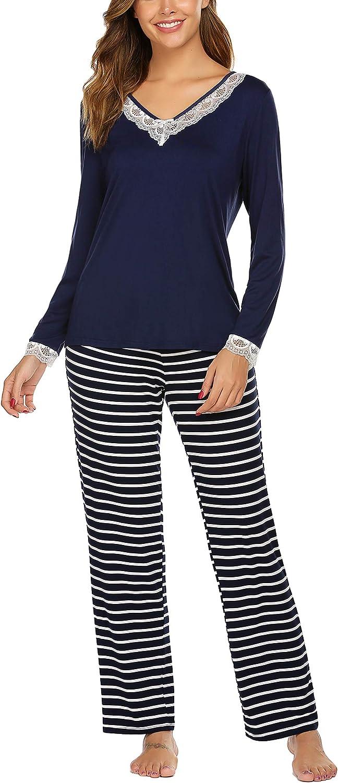 Ekouaer Sleepwear Women's Modal Pajamas Sets with Pockets Long Sleeve O Neck Lightweight Loungewear Soft Pj Set (S-XXL)