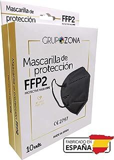Caja 10 Mascarillas FFP2 negras homologadas y fabricadas en España CE 2797, filtrado de 5 capas - GrupoZona - Mascarilla f...