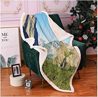 Apartment Decor Couch Throw Blanket El Capitan Half Dome and Bridalveil Falls Tourist Attractions Landscape Decoration pet Blanket Green Blue 50