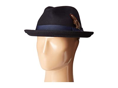 Stacy Adams Fedora with Matching Trim (Navy) Fedora Hats