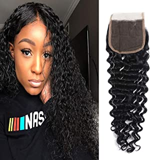 Brazilian Deep Wave Closure 4x4 Free Part 100% Unprocessed Virgin Human Hair Deep Curly Lace Closure Natural Black by Msjoli (16 Inch Free Part)