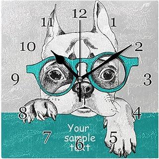 Fransk bulldog djur väggklocka tyst icke-tickande fyrkantig konstmålning klocka för hem kontor skoldekor