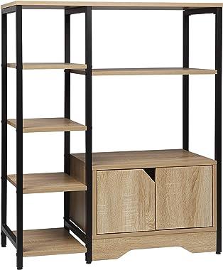 WOLTU RGB08hei Étagère de rangement Bibliothèque avec armoire,Étagère de cuisine Étagère de bureau en métal et MDF 80x35x97cm