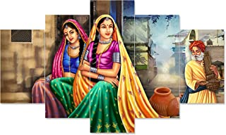 Saumic Craft Set Of 5 Rajasthani Village Lady Scenery Framed Wall Painting For Home Decoration , Living Room , Office , Ho...