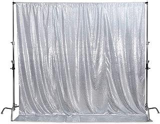 SquarePie Pailletten Hintergrund nicht transparent Satin Fotografie Hintergrund glitzernder Vorhang für Hochzeit Party, silber, 6FT x 8FT