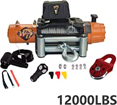 ZR Universal 12000LB 12V 158/1 Gear Ratio Steel Rope Electric Recovery Winch Wireless Remote Control 4-Way Roller Fairlead IP67 waterproof for Pickup Truck 4WD JEEP SUV Van Train Boat Trailer