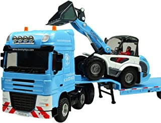 Happy Cherry 1:50 Scale Equipment Alloy Trailer Moveable Model Semi Truck with Skid Steer Loader Toy Vehicle