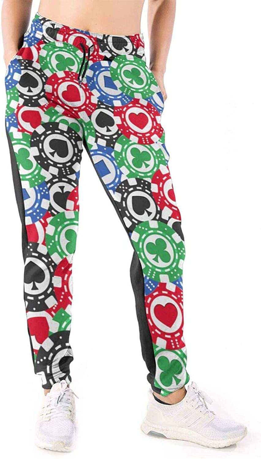 LONEA Women Joggers Pants Poker Chips Gambling Colorful Athletic Sweatpants with Pockets Casual Trousers Baggy