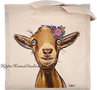 Cute Goat Tote Bag, Poundcake, Goat lover gift, flower crown goat